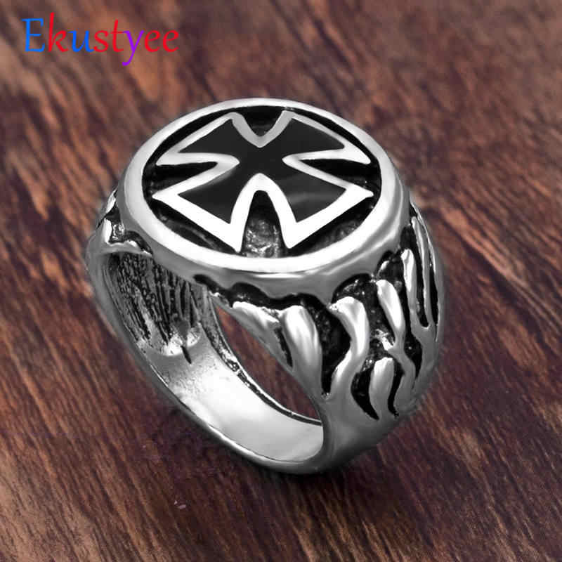 Vintage Fire Cross Ring for Man Crucifix Biker Lucky Prayer Jewelry for Male  drop shipping
