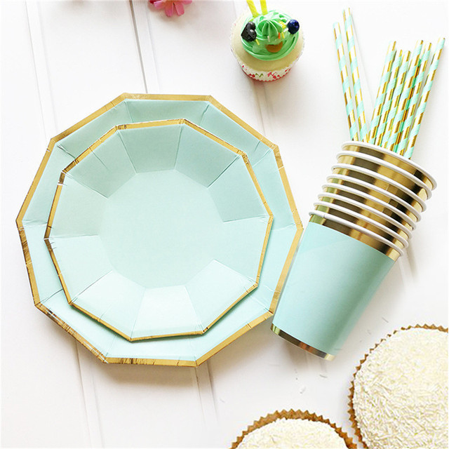 49pcs/lot Dinnerware Set Disposable Plates and Cups with Paper Straws Decorative Party Tablewares for  sc 1 st  AliExpress.com & Aliexpress.com : Buy 49pcs/lot Dinnerware Set Disposable Plates and ...