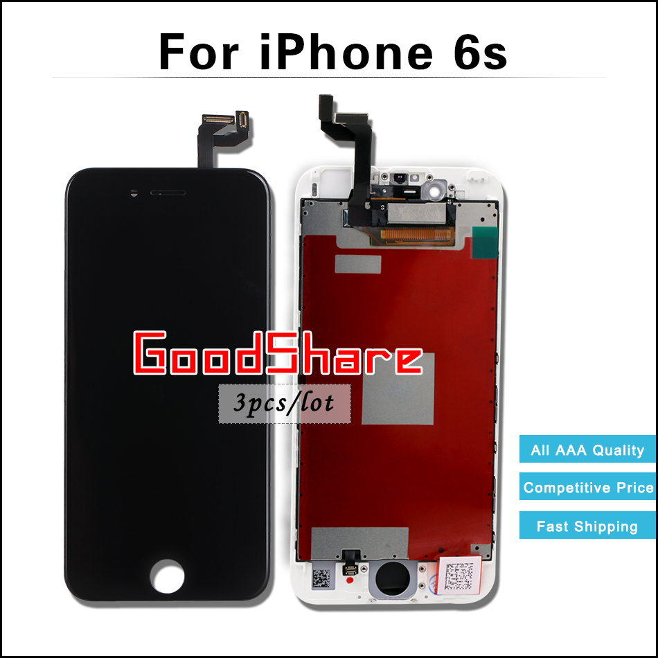 3 PCS/LOT 100% Test AAA For iPhone 6s LCD Complete & Screen Display Digitizer Assembly Replacement Black/White Free DHL Shipping