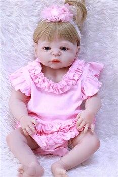 "Full body silicone reborn baby dolls 22""55cm newborn girl princess dolls bebe realistic reborn bonecas"