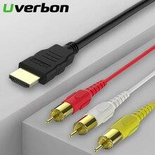 HDMI ל rca כבל HDMI זכר 3RCA AV מרוכבים זכר M/M מחבר מתאם כבל כבל משדר לא אות המרה פונקציה