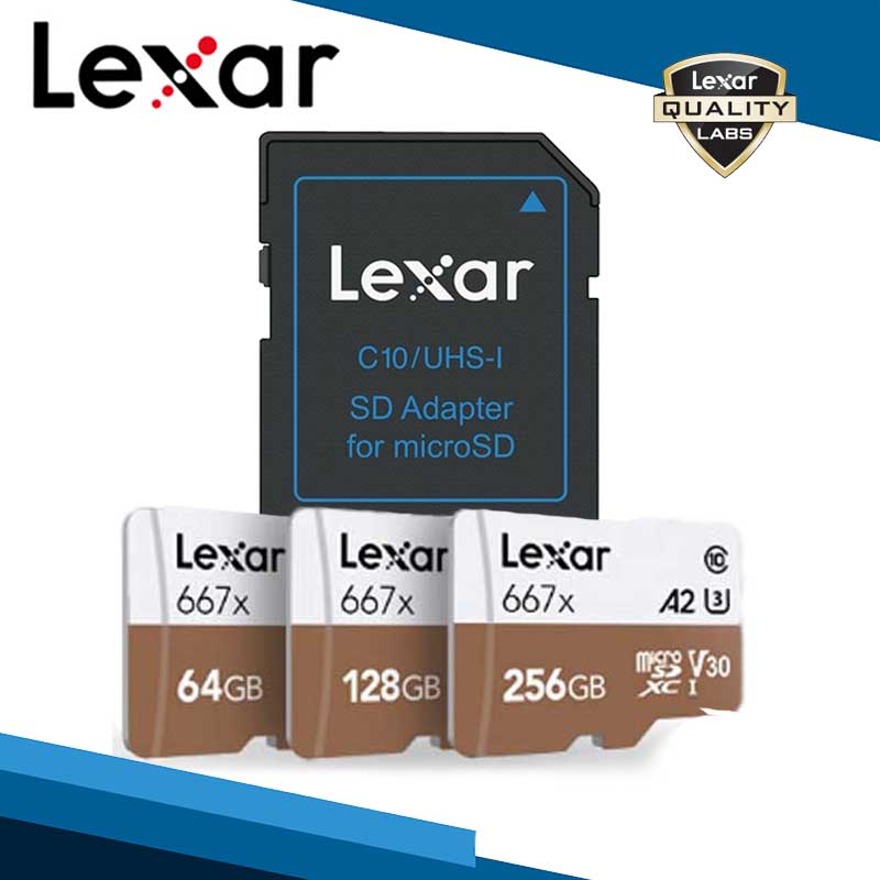 <font><b>Lexar</b></font> Professional <font><b>667x</b></font> Micro SDXC UHS-I Cards With Adapter 64G 128G 256G A2 U3 V30 Class 10 Card For 1080p Full-HD 3D 4K Video image