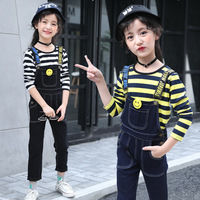 kids clothes Children's sets 2019 spring autumn new girls strap jeans striped T shirt casual popular 2 piece suit