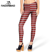 2016 New Arrival leggins White Red TARTAN leggins Printed Women Leggings KDK1461