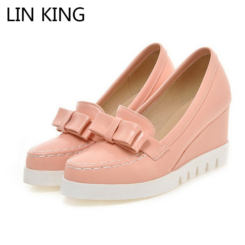 LIN KING New Bow Tie Slip On Wedges High Heels Women Pumps Round Toe Pu Platform Autumn/Spring Lady Party Shoes Plus Size 34-43 nayiduyun women genuine leather wedge high heel pumps platform creepers round toe slip on casual shoes boots wedge sneakers
