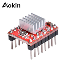 цена на Aokin A4988 Driver Module Stepper Motor Driver with Heatsink for Reprap Pololu 3D Printer Red Green Blue 3D Printer Module