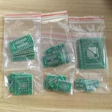 30 шт. = 6*5 шт. печатная плата комплект SMD поворот к DIP адаптер конвертер пластина FQFP 32 44 64 80 100 HTQFP QFN48 СОП SSOP TSSOP 8 16 24 28
