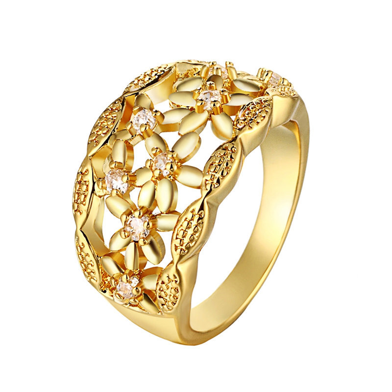 24K Yellow Gold / Rose Gold Color Rings For Women, Hollowed Out ...