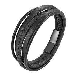 New Design Multi-layers Handmade Braided Cowhide Bracelet & Bangle For Men Male Hand Jewelry Stainless Steel Fashion Bangles