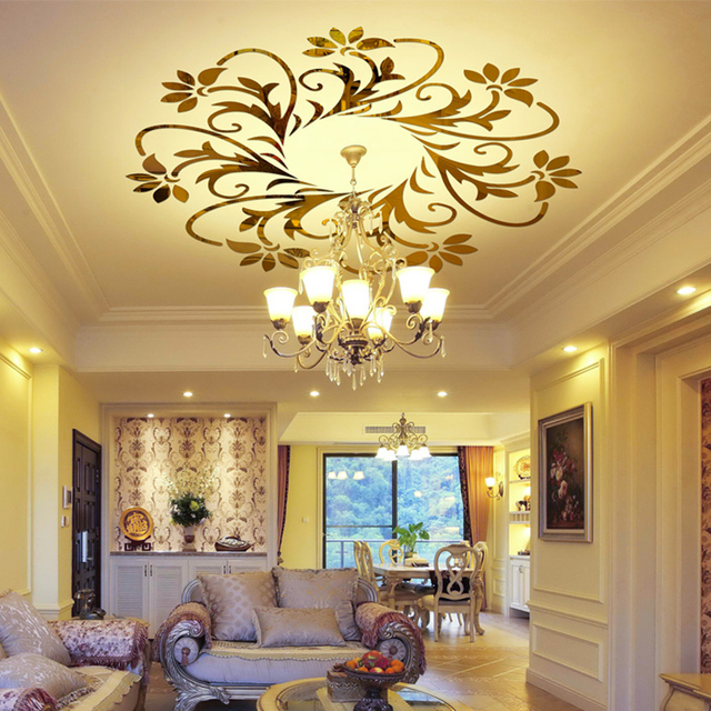 Ceiling Decorations 3d Acrylic Mirror Wall Stickers Flower Living Room  Decoration Lighting Stickers 3d Wall Sticker