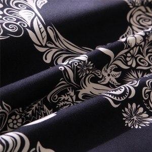 Image 5 - Bonenjoy שחור צבע שמיכה כיסוי מלכת גודל יוקרה סוכר גולגולת סט מצעים מלך גודל 3D גולגולת מצעים וערכות מיטה
