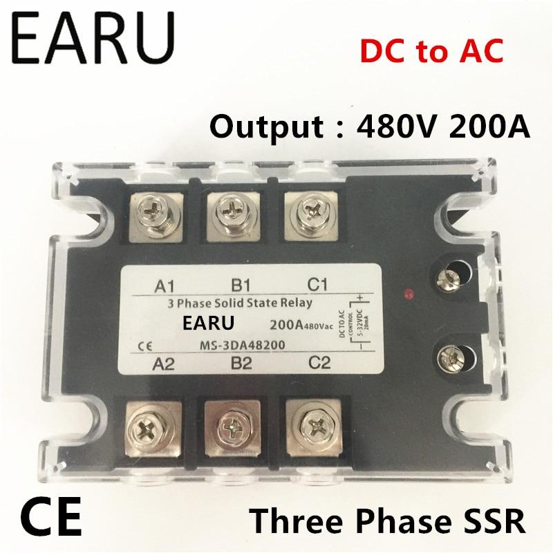 TSR-200DA SSR-200DA triphasé relais à semi-conducteurs DC 5-32 V contrôle d'entrée AC 90 ~ 480 V charge de sortie 200A 3 phases SSR puissance DA48200