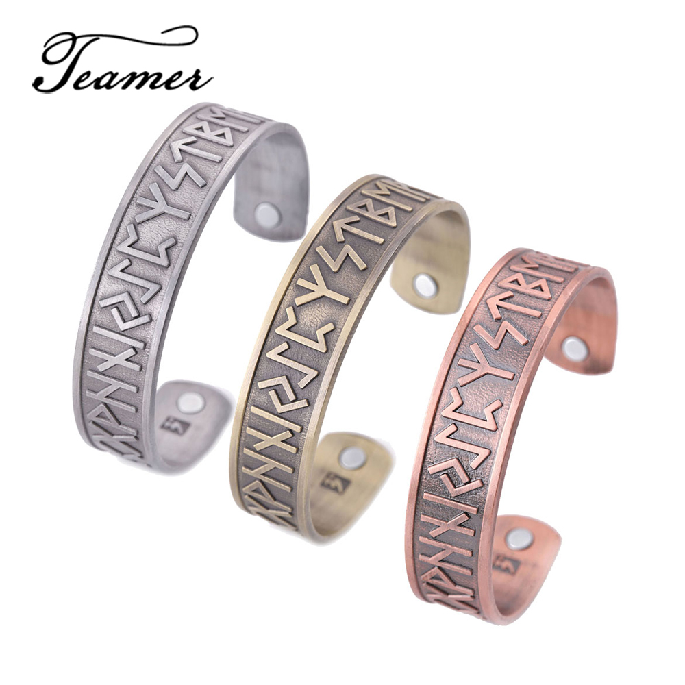 Teamer Magnetic Bangles Vintage Ethnic Viking Norse 24 Runes Stainless Steel Cuff Bracelet Bangle Health Care Jewelry for Men bangle