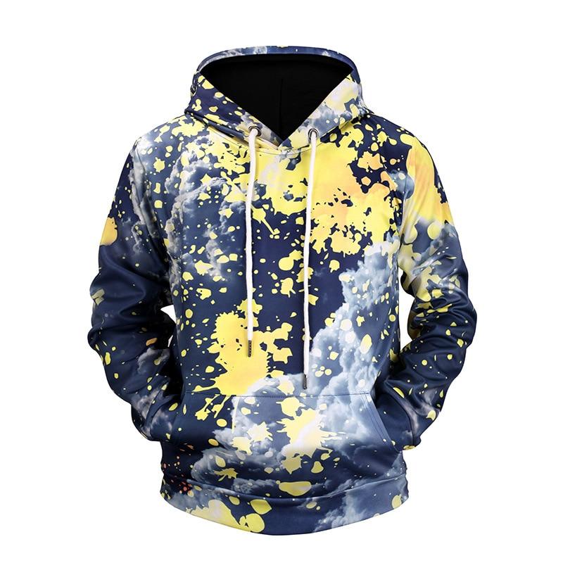2017 Autumn New Fashion Mens Hoodies and Sweatshirts 3D Print Sky Cloud Simple Coat HipHop Coats Casual Sportswear Hoodie Men