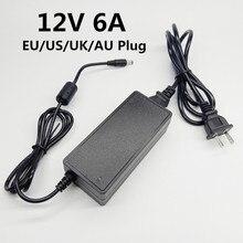 "12 V 6A 12 V 12 וולט AC כדי DC אספקת חשמל 100 240V האוניברסלי מתאם מיתוג מתאם 12V6A האיחוד האירופי ארה""ב בריטניה AU Plug כבל 5.5X2.5mm"