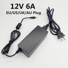 12 V 6A 12 V 12 V AC na DC zasilacz 100 240V uniwersalny Adapter przełączający 12V6A ue usa UK AU kabel z wtyczką 5.5X2.5mm