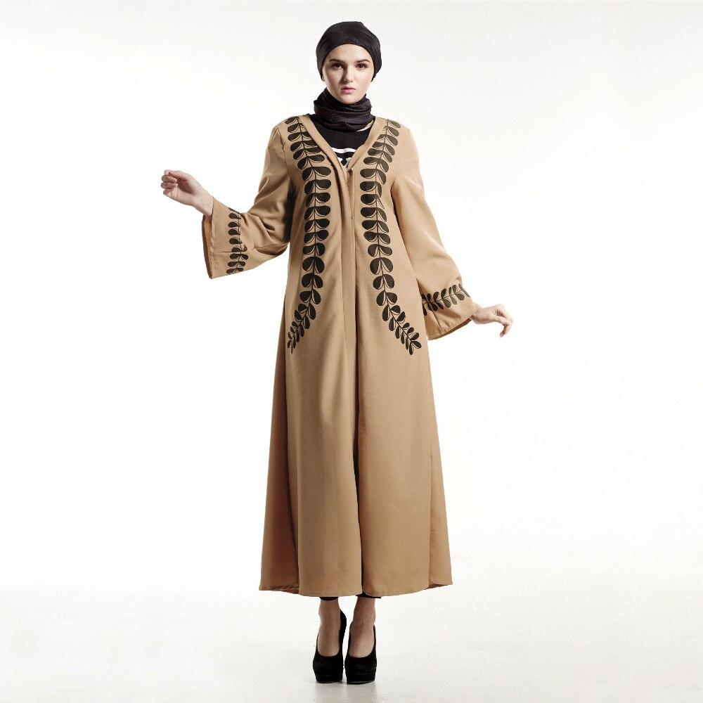Long Sleeve Turkish Islamic Fashion Print Muslim Women Dress Anneyep Printed Flowers Kaftan Maxi Leaves Hit Color Abaya Clothing Cardigan Robes Middle East Arab In From