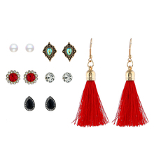2019 Trendy Beautiful Femme Flower Crystal Imitation Pearls Stud Earrings &6 Pair/Set Tassel For Female Jewelry Bijoux