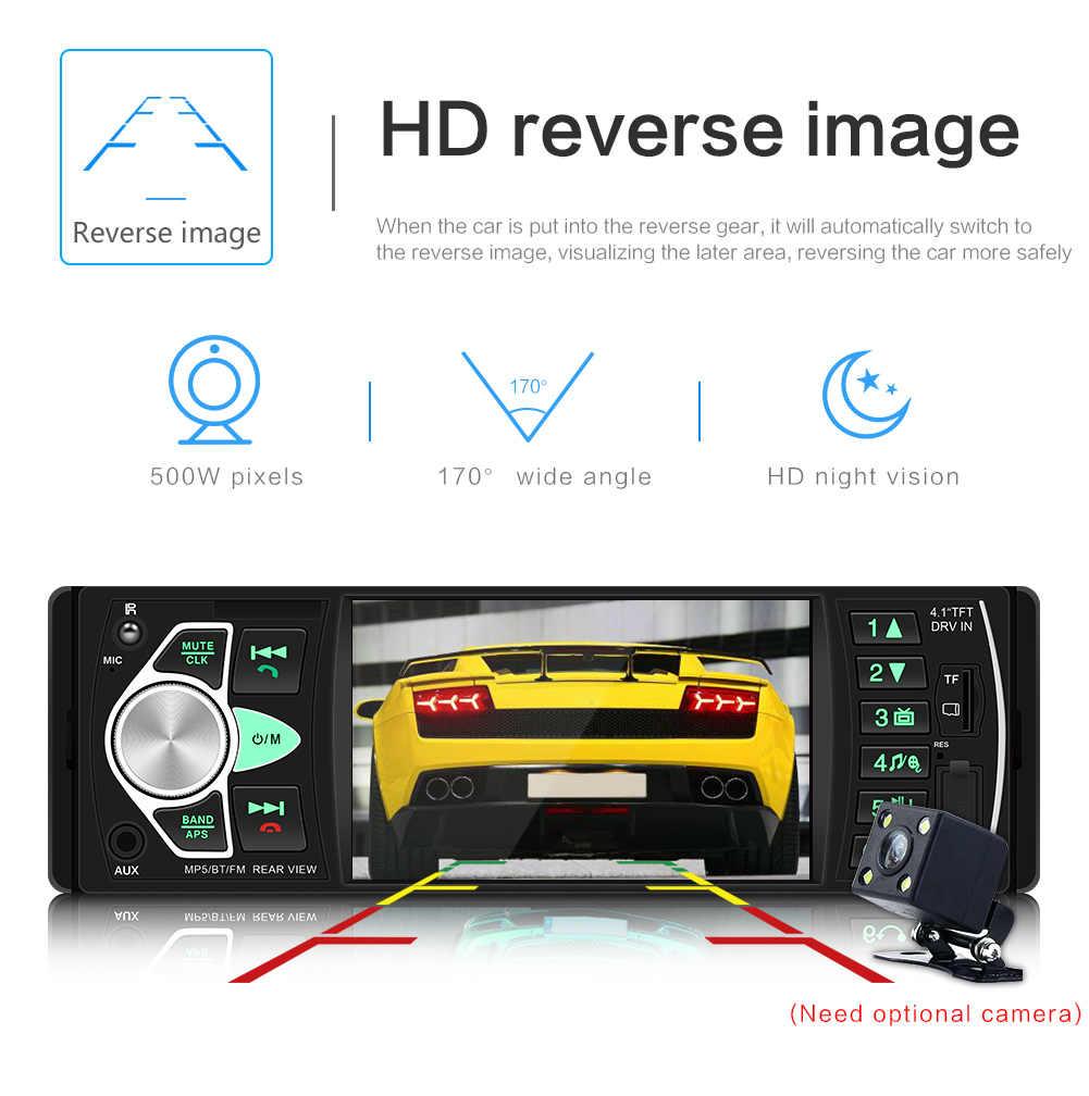 Автомобильный Радио плеер Авто аудио стерео 4,1 дюйма 1 Din FM Bluetooth 12 В Поддержка камеры заднего вида USB MP4 MP5 SD TF Авторадио