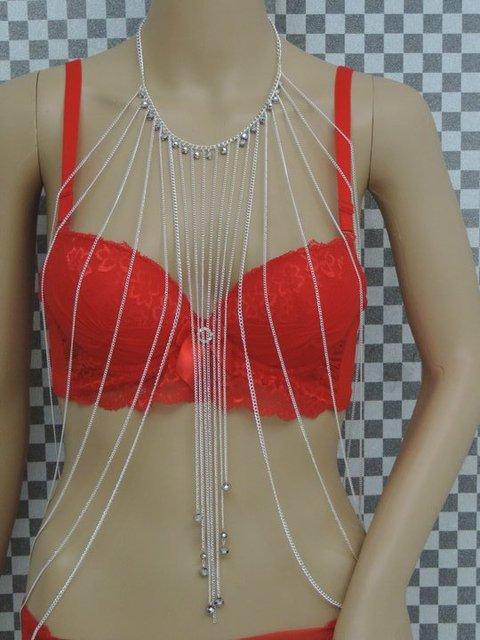 Venda, multi-cadeia corpo, prata, um colar, correntes com pérolas, colares, borlas jóias, sexy biquíni cadeia corpo, frete grátis