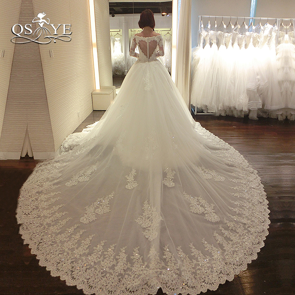 Beaded Wedding Dress With Detachable Train: Luxury Lace Wedding Dresses With Detachable Train 2018 New