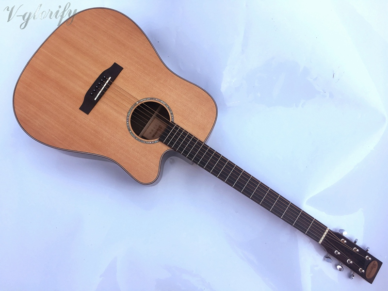 red cedar top acoustic guitar with electric tuner with case free shipping in guitar from sports. Black Bedroom Furniture Sets. Home Design Ideas