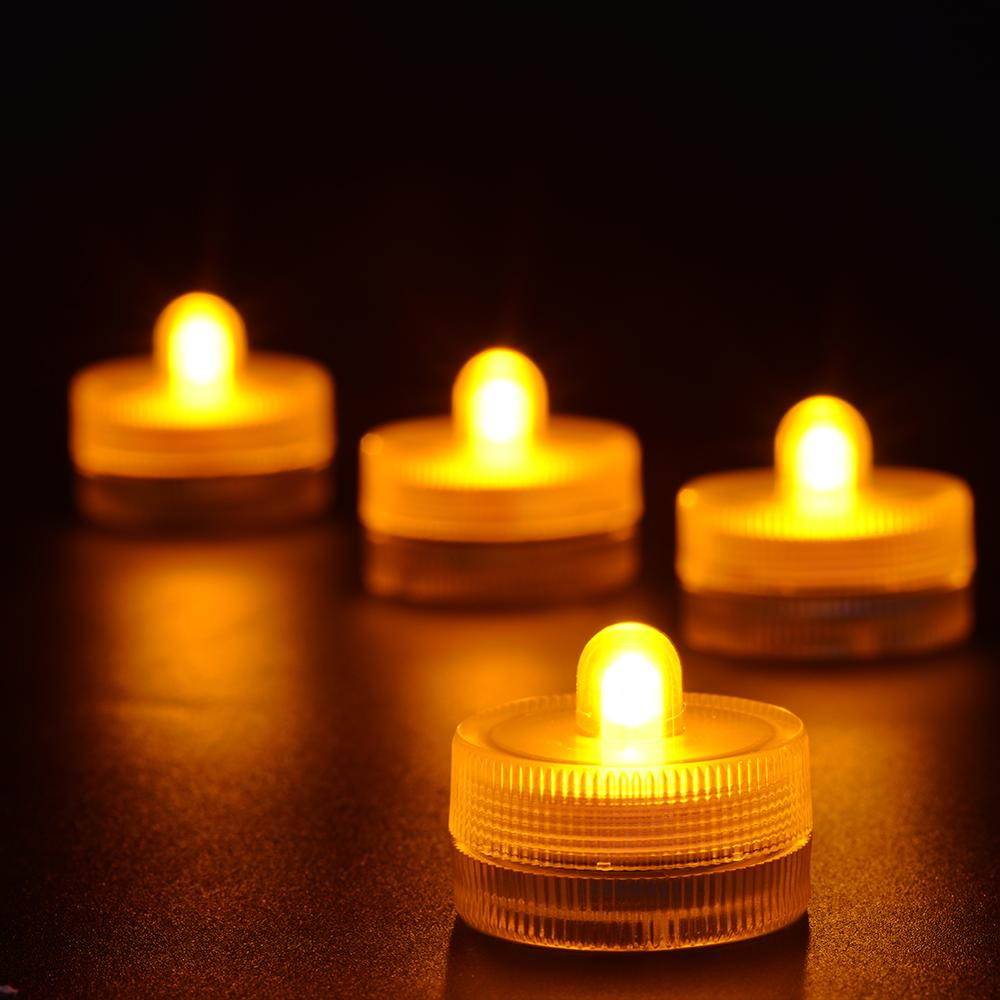 10pcs Led Submersible Candle LED Waterproof Tea Light Underwater Candles For Wedding Decor Christmas Halloween Birthday