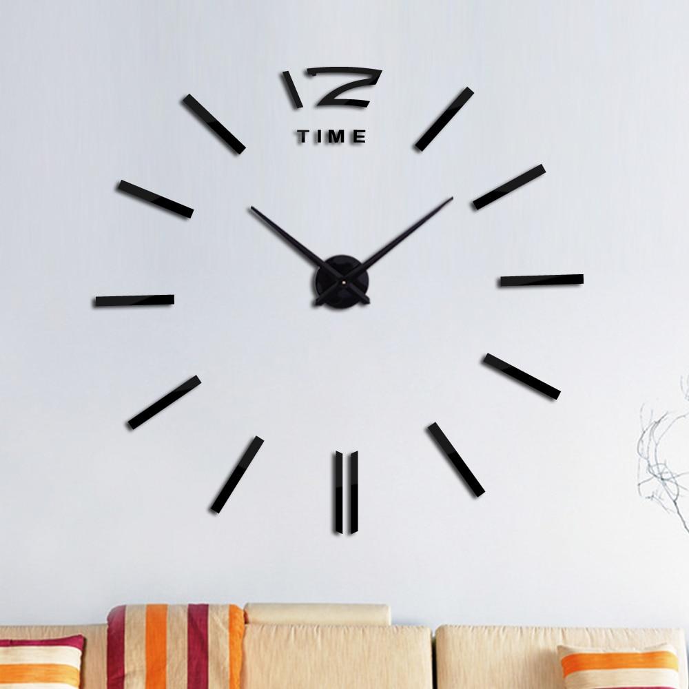 Модный дизайн Diy акриловые зеркальные большие настенные часы кварцевые часы натюрморт часы Современная гостиная украшение дома наклейки