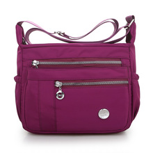 Waterproof Oxford Shoulder Bag Pureple Solid Soft cloth Contracted joker Black Messenger More Zippers Women Leisure