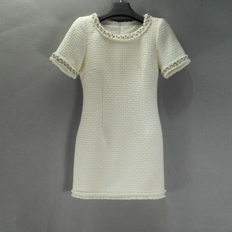 white tweed dress spring autumn winter advanced custom small fragrant wind short sleeved dress bottoming ladies