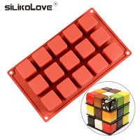 SILIKOLOVE 15 Cavity Cubo de molde de silicona Antiadherente Postre Molde de pastel Cubo mágico Empalme Pastel Cuadrado Brownie Moldes Pastel para hornear