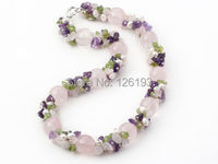 Nice Chunky Amethyst Rose Quartz Peridot And FreshWater Pearl Necklace