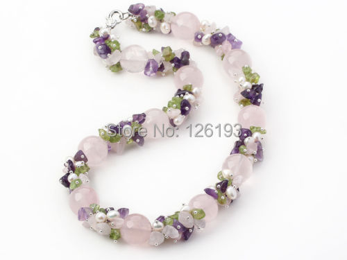 Nice Chunky Amethyst, Rose Quartz, Peridot and FreshWater Pearl Necklace