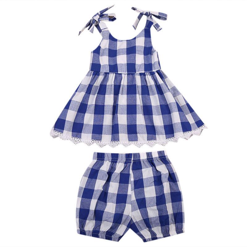 Hot Sleeveless Baby Girls Kids Checked font b Dress b font Shorts 2pcs Outfits Toddler Clothes