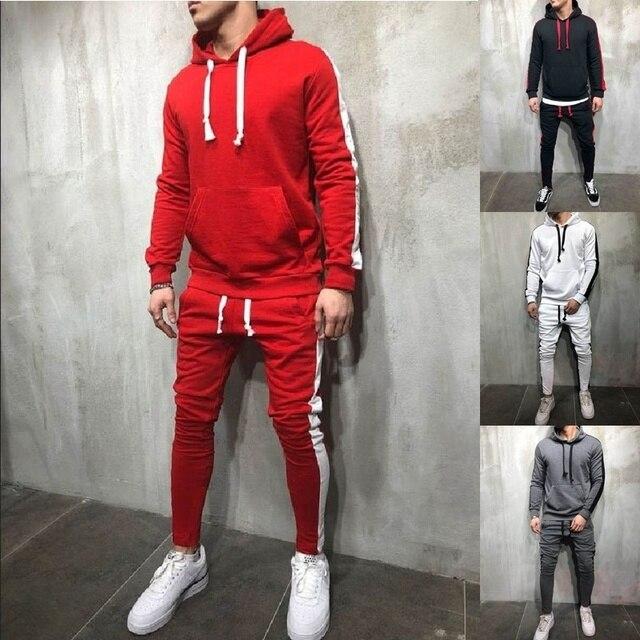 ZOGAA 2 pièces Définit Survêtement Hommes 2019 Automne Hiver Sweat À Capuche + Pantalon Cordon Mâle Coton Solide Hoodies Doux Streetwear