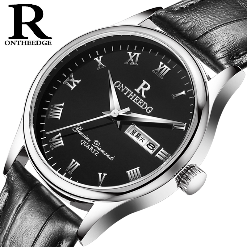 Ремень для мужских часов из натуральной кожи, наручные часы в деловом стиле, римские указатели часов, водонепроницаемые 3ATM