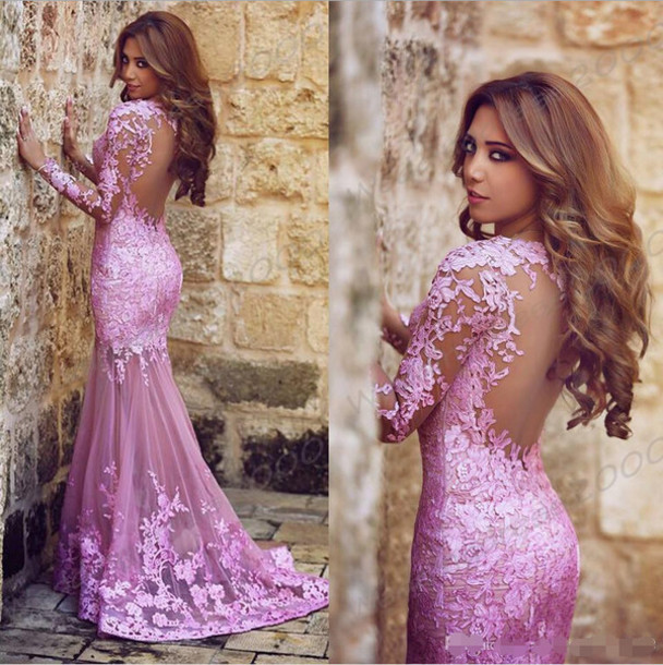 Sexy Long Robe Soiree Purple Pink Mermaid Prom Dress Long Sleeves