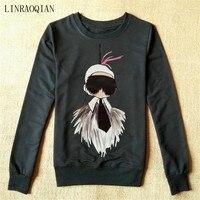 LINRAOQIAN Fashion Cartoon Scarecrow Hoodies Women Autumn Winter Long Sleeve Sweatshirt Women Cotton Pullover Female Hoodie
