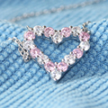 Queen Brilliance 1.6cttw Quality Pink And White NSCD Simulated Diamond Jewelry 925 Sterling Silver Heart Shaped Pendant Necklace