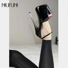 Super High Heels 18 cm Sexy Women Party Shoes Sandals Stiletto Woman Platform Pumps Ankle Strap Peep Toe Fashion Nightclub Black недорого