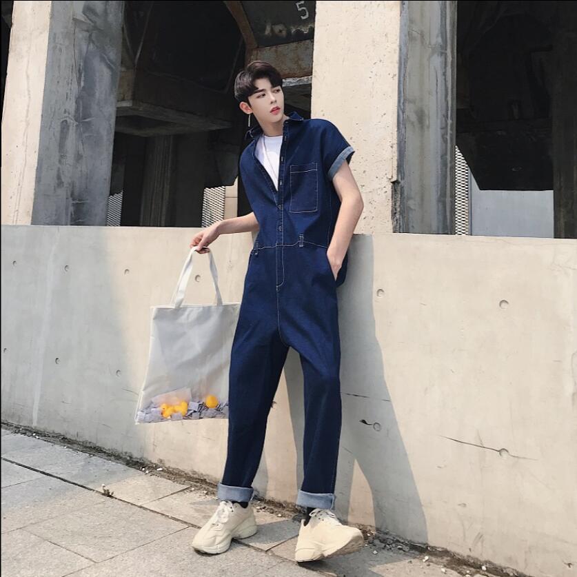 De Casual Jeans À Outillage Bleu Coiffeur Marée Manches Mâle Grande Taille Pièce Courtes Designer 18 D'été D'une Seule Salopette Hommes Denim H8nSpqxP