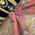 Ladyfirst 2016 Flor Pulseiras de Tornozelo Praia Férias Boho Cristal Sandálias Sexy Leg Cadeia Feminina Tornozeleira Jóias Declaração 3175