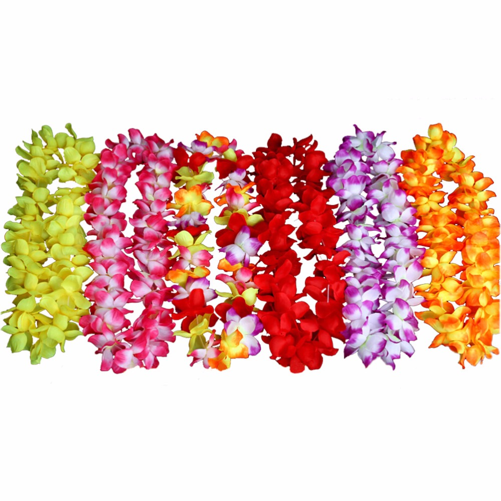 6 Pcslot Hawaiian Colorful Flower Leis Garlands Necklaces For