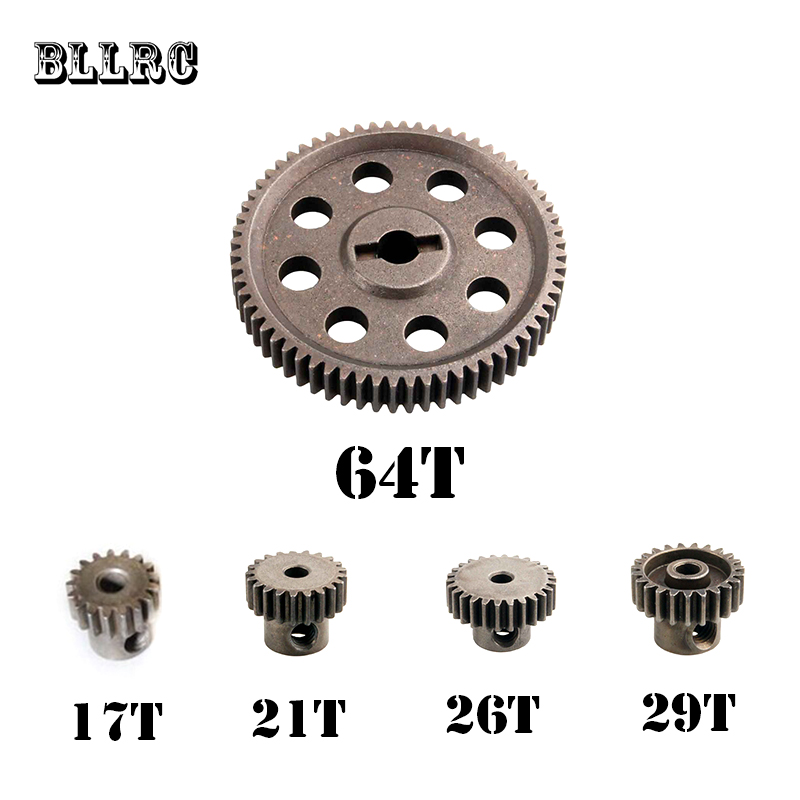Hsp RC Car 5MM 64T 11184 Steel Metal Diff.main Gear 3.17mm 17T 21T 26T 29T Motor Parts For 1/10 Himoto 11189 11176 11181 11119