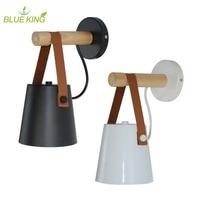 LED Wall Lamps Abajur for Living Room Wall Sconces Light E27 Nordic Wooden belt Wall Light White Black