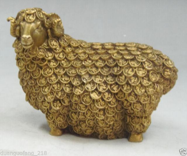 Ornement chinois sculpté à la main en laiton statue de bon augure-mouton d'or