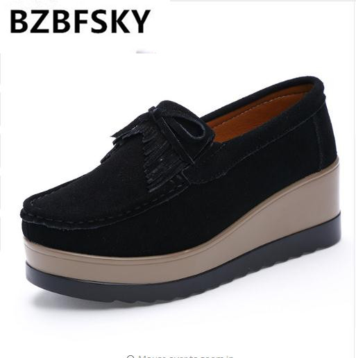 BZBFSKY2018 Spring women platform shoes   leather     Suede   Slip On sneakers shoes Tassel fringe women loafers moccasins womens