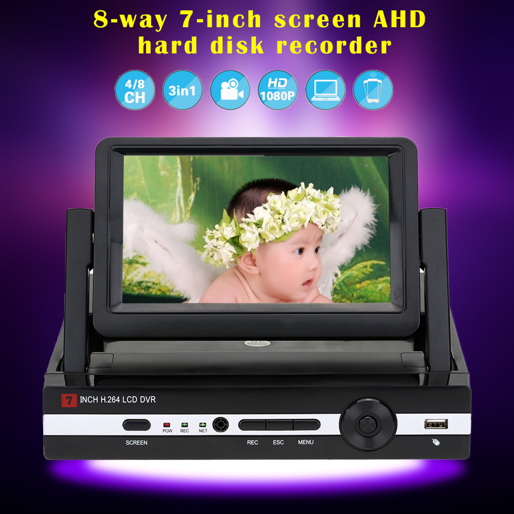 CCTV 4 Channel 8CH 1080N Hybrid DVR HVR NVR Home Security System P2P H.264 Digital Video Recorder with 7 LCD Screen Hiseeu 40 dvr 4 channel 4pcs indoor dome 700tvl cctv cameras with ircut night vision hdmi video recorder h 264 remote view cctv system