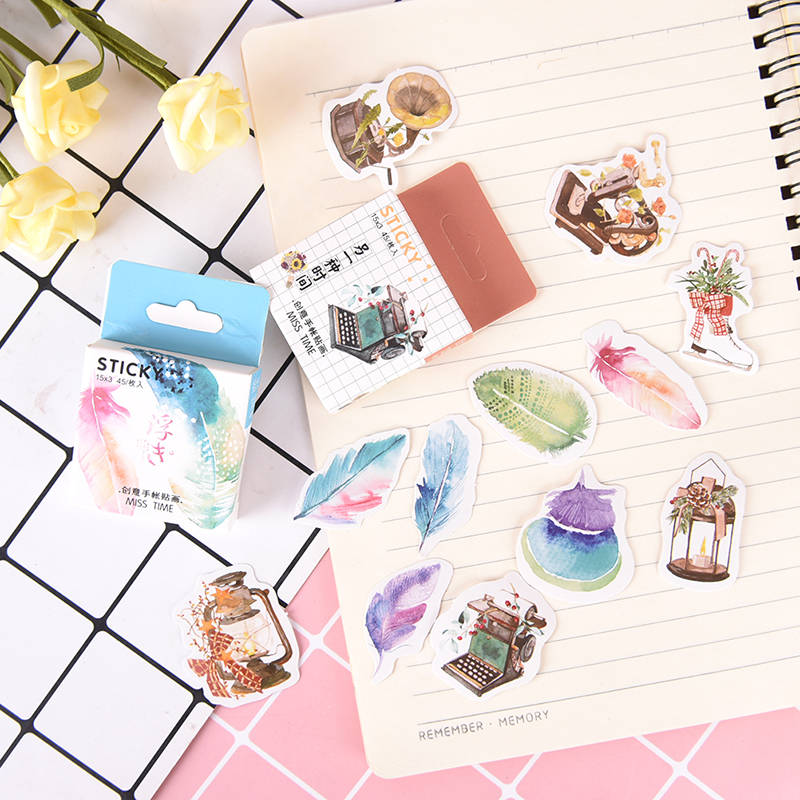 Office & School Supplies 45 Pcs/lot Cute Feathers Diary Paper Label Stickers Crafts Scrapbooking Decorative Sticker Profit Small