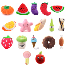 Pet Toys Funny Cartoon Cute Fruit Bite Resistant Plush Squeaky Toy Chew For Cats Interactive Supplies Partner